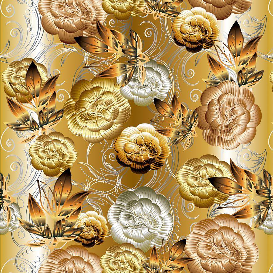Papel de Parede Floral Bronze Prata Gold Glamour Adesivo P800