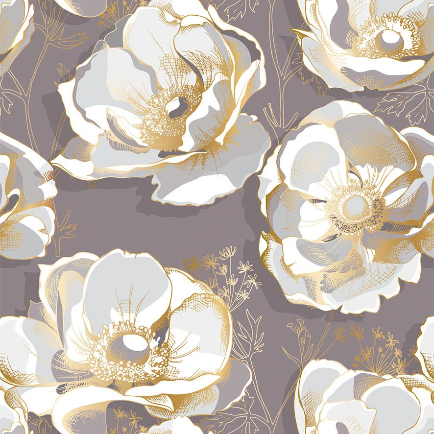 Papel de Parede Floral Flores Glamour Adesivo P783