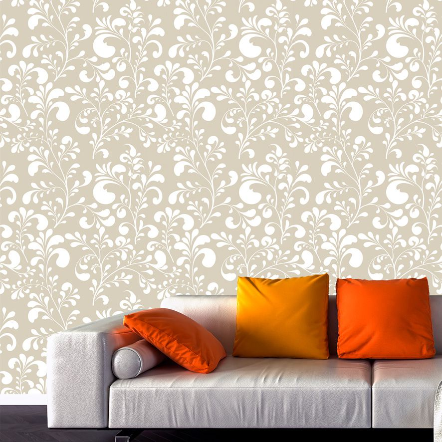 Papel de Parede Floral Galhos Folhas Glamour Adesivo P808