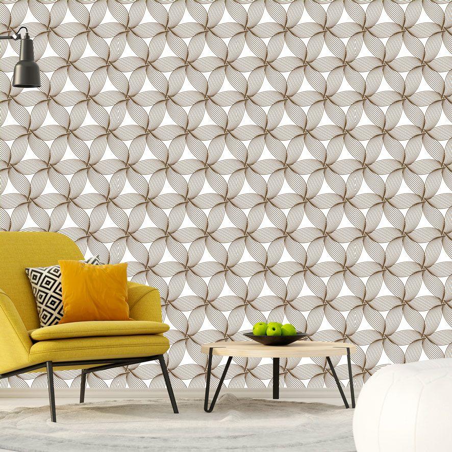 Papel de Parede Linhas Floral Geométrico Glamour Adesivo P541
