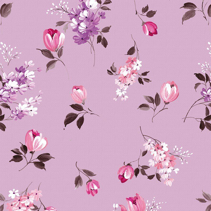 Papel de Parede Adesivo Floral Lilas P622