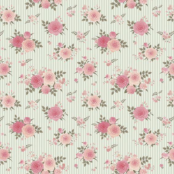 Papel de Parede Floral Rosas Listrado Adesivo P145