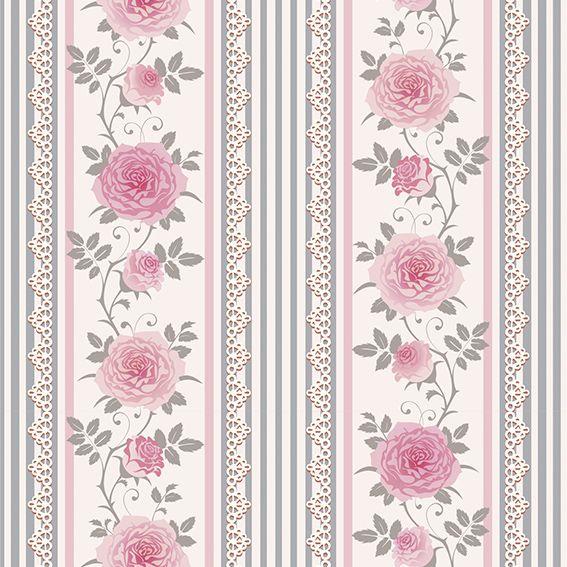 Papel de Parede Floral Rosas Galhos Flores Listrado Adesivo P196