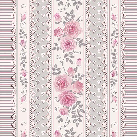Papel de Parede Floral Listrado Rosas Glamour Adesivo P200