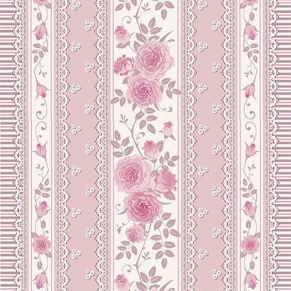 Papel de Parede Floral Listrado Rosas Glamour Adesivo P202