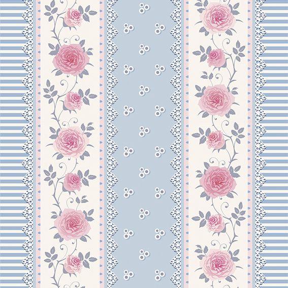 Papel de Parede Floral Listrado Rosas Glamour Adesivo P204