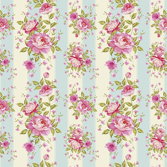 Papel de Parede Floral Rosas Listrado Adesivo P215