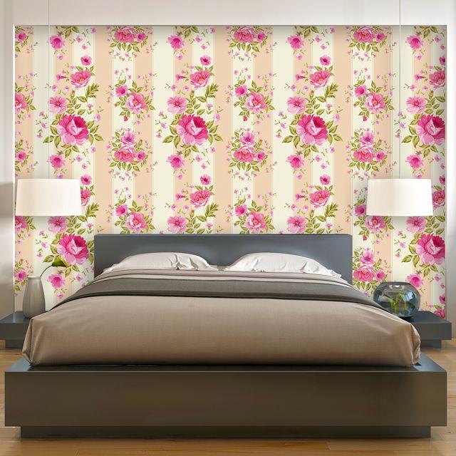 Papel de Parede Adesivo Floral Listrado P235