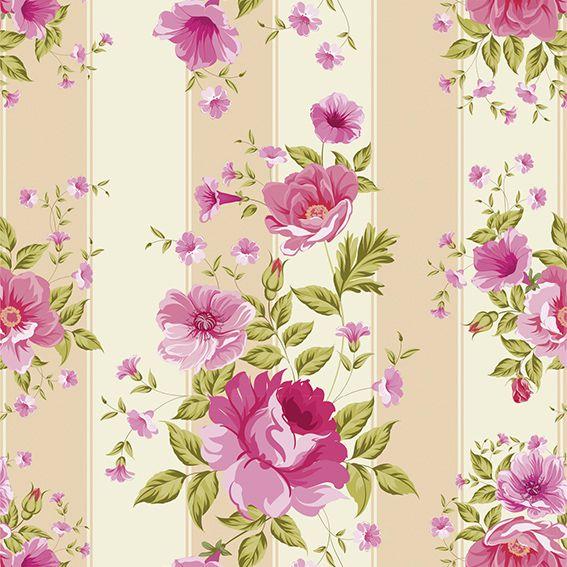 Papel de Parede Floral Rosas Folhas Listrado Adesivo P235