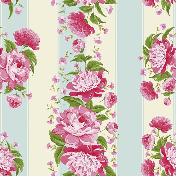Papel de Parede Floral Rosas Listrado Folhas Adesivo P241