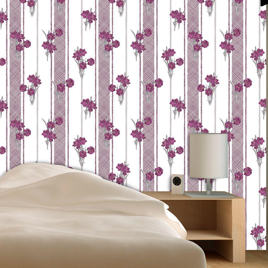 Papel de Parede Floral Listrado Galhos Glamour Adesivo P768