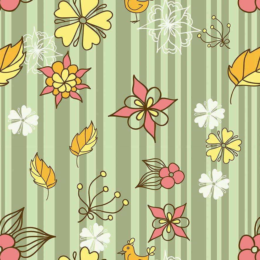 Papel de Parede Floral Listrado Folhas Adesivo P624
