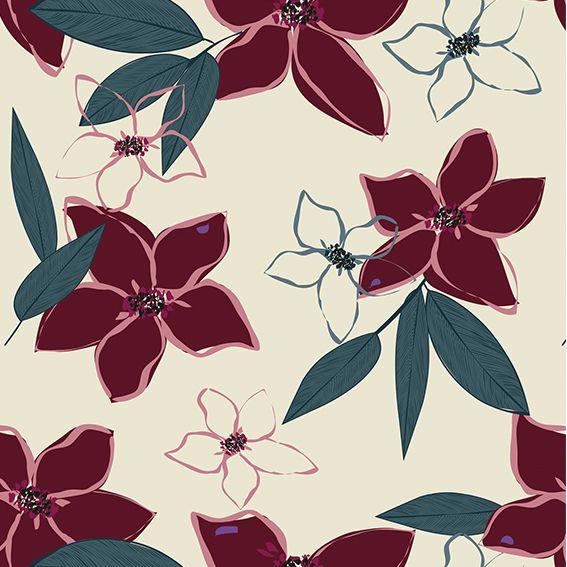 Papel de Parede Flores Vermelha Glamour Adesivo P374