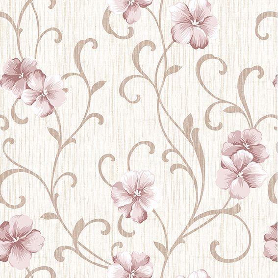 Papel de Parede Floral Rosas Galhos Glamour Adesivo P426