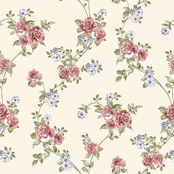 Papel de Parede Flores Rosas Folhas Galhos Adesivo P239