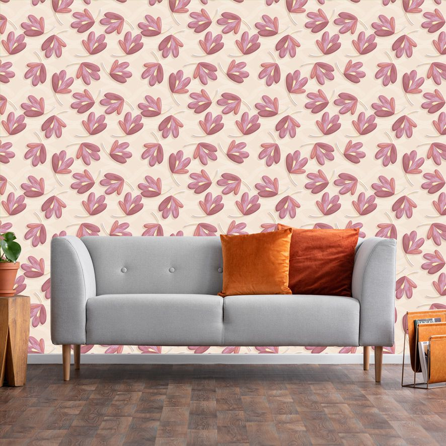 Papel de Parede Floral Folhas Rosas Galhos 3D Adesivo P572