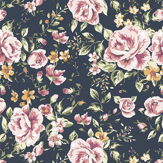 Papel de Parede Floral Flores Rosas Glamour Adesivo P060