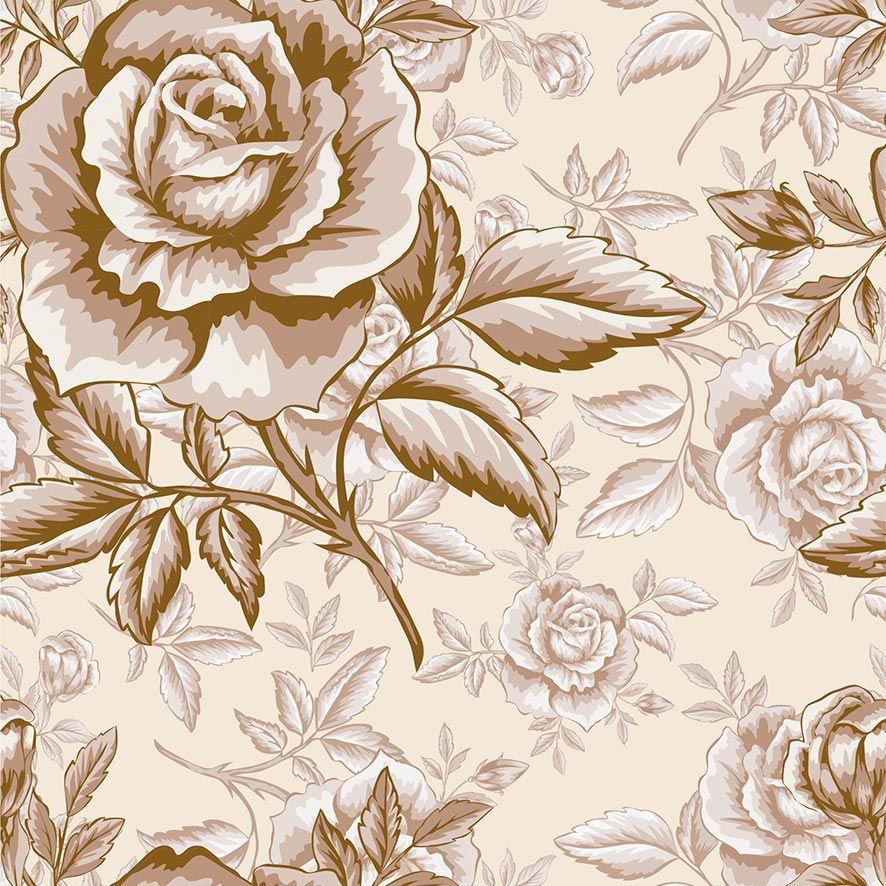 Papel de Parede Floral Rosas Retro Glamour Adesivo P705