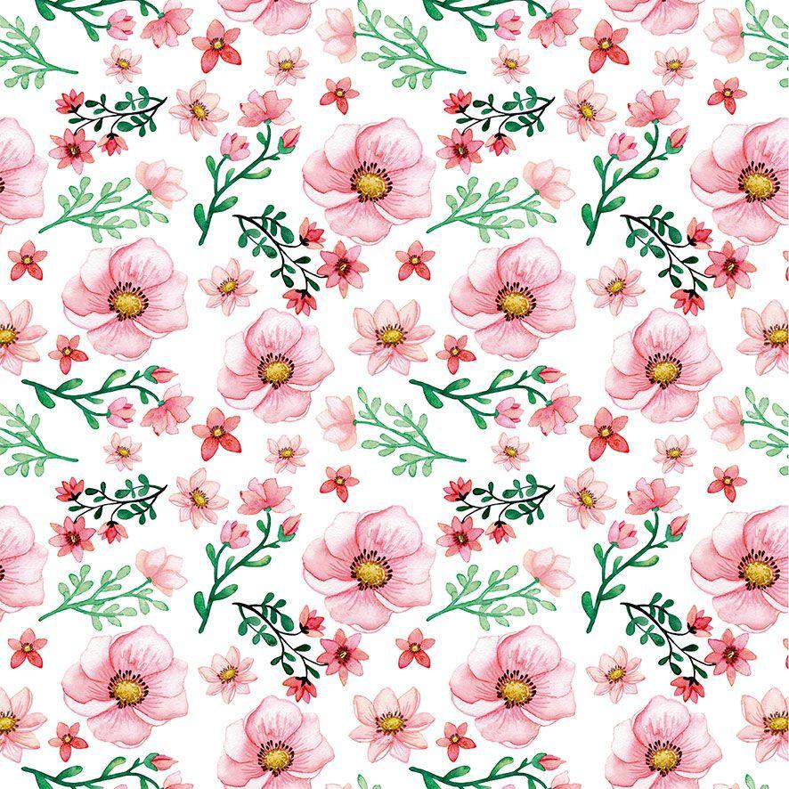 Papel de Parede Floral Rosas Florzinhas Glamour Adesivo P551