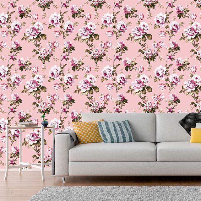 Papel de Parede Floral Rosas Flores Glamour Adesivo P346