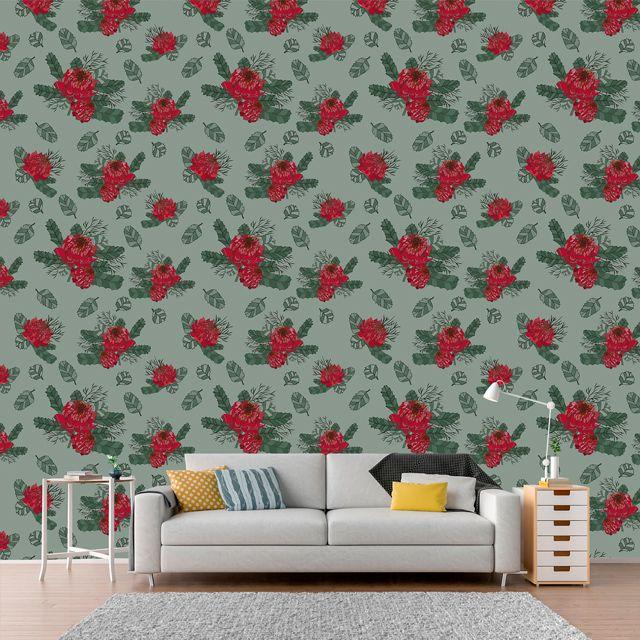 Papel de Parede Floral Rosas Vermelha Folhas Glamour Adesivo P343