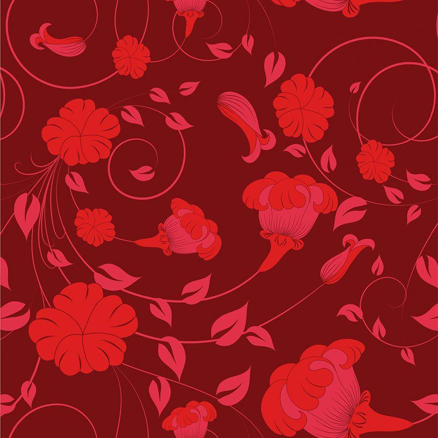 Papel de Parede Adesivo Floral Vermelho P618