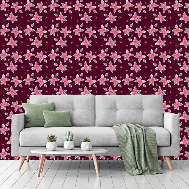 Papel de Parede Flores Rosas Folhas Glamour Adesivo P228