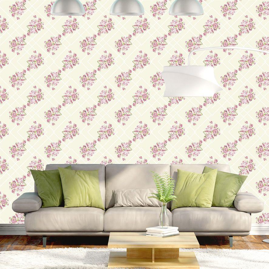 Papel de Parede Floral Rosas Xadrez Glamour Adesivo P536
