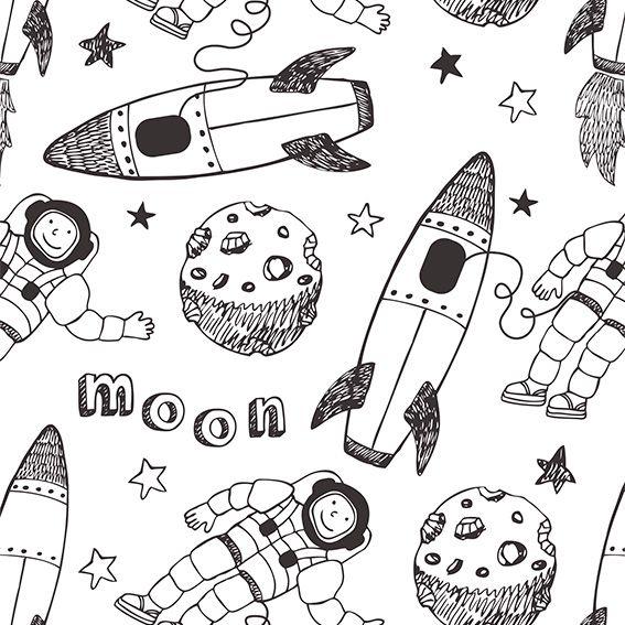 Papel de Parede Foguetes Lua Estrelas Astronauta Adesivo P447