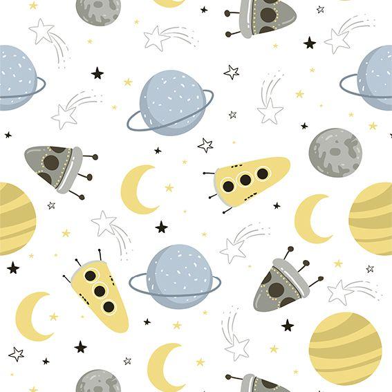 Papel de Parede Foguetes Estrelas Planetas Bebê Adesivo P198