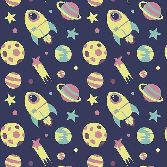 Papel de Parede Foguetes Planetas Estrelas Adesivo P397