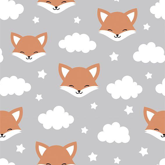 Papel de Parede Fox Nuvens Estrelas Adesivo P283