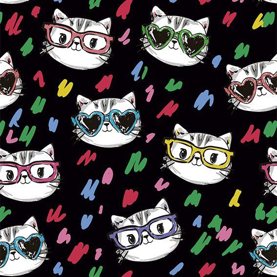 Papel de Parede Gatas Fashion Oculos Adesivo P431