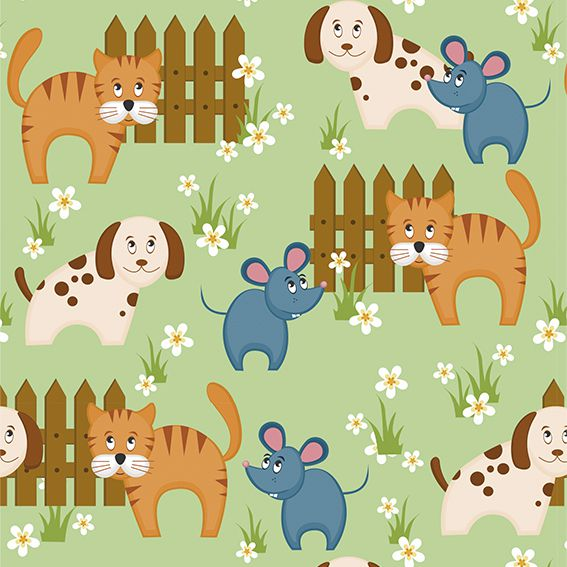 Papel de Parede Gato e Rato Cachorro Bebê Adesivo P128