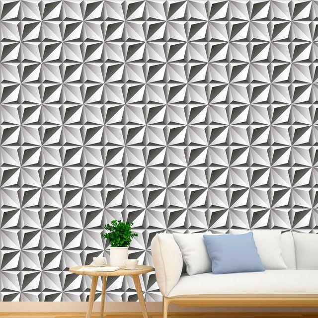 Papel de Parede Adesivo Geométrico 3D Branco Cinza P225