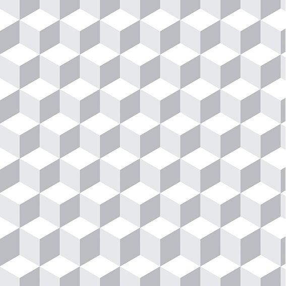 Papel de Parede Adesivo Geométrico 3D Branco P033B