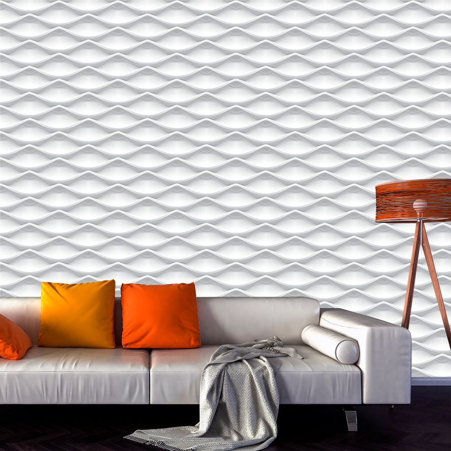Papel de Parede Adesivo Geométrico 3D Branco P600