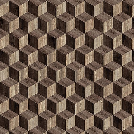 Papel de Parede 3D Madeira Geométrico Cubo Adesivo P033M
