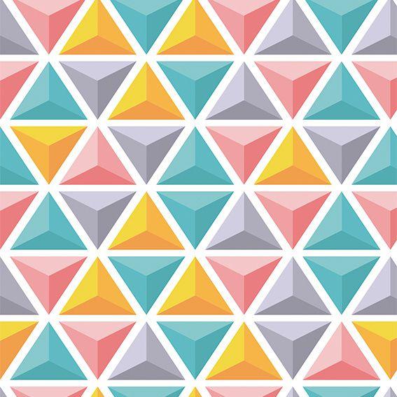 Papel de Parede Geométrico Triângulos 3D Colorido Adesivo P498