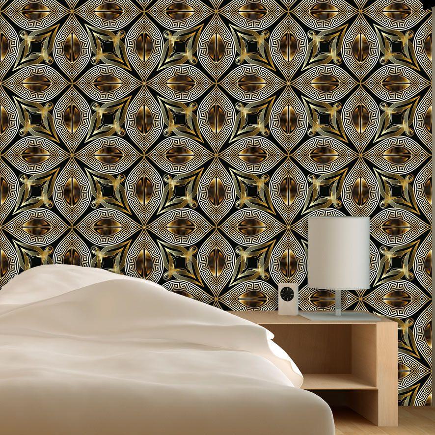 Papel de Parede Geométrico Gold Floral Glamour Adesivo P803