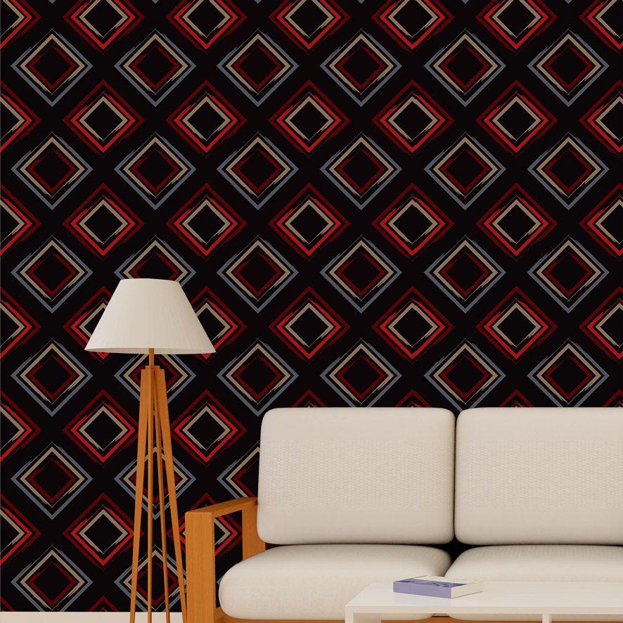Papel de Parede Geometrico Quadrados Glamour Adesivo P719