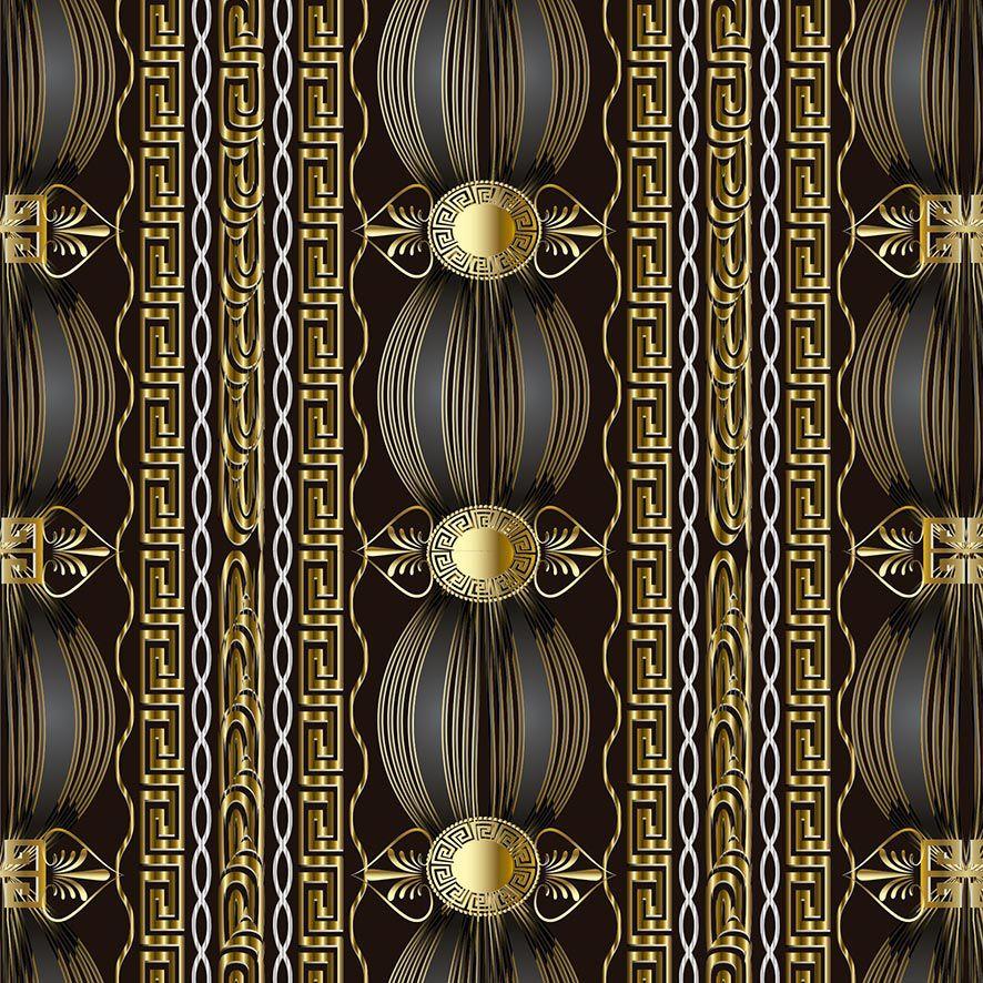 Papel de Parede Geométrico Vintage Gold Glamour Adesivo P799