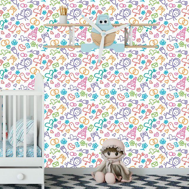 Papel de Parede Desenhos Flores Coração Bolos Infantil Adesivo P059