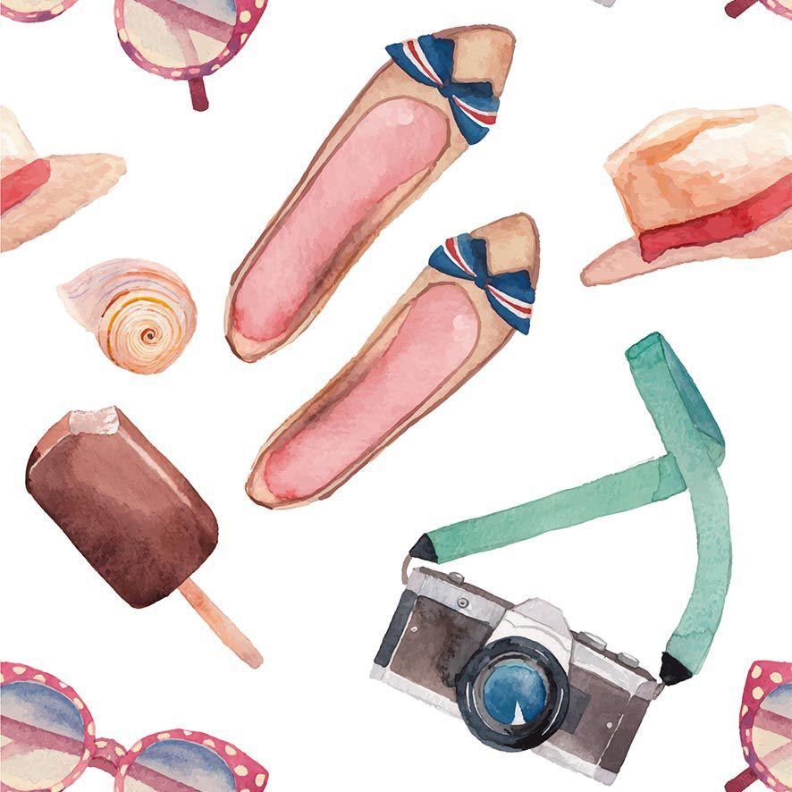 Papel de Parede Moda Tour Oculos Sapatilhas Adesivo P702