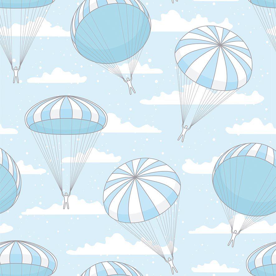 Papel de Parede Paraquedas Nuvens Kids Adesivo P703
