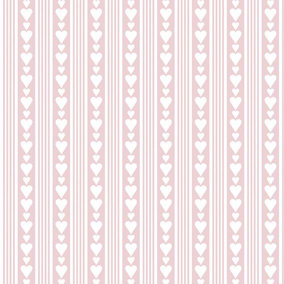 Papel de Parede Listrado Corações Love Adesivo P062