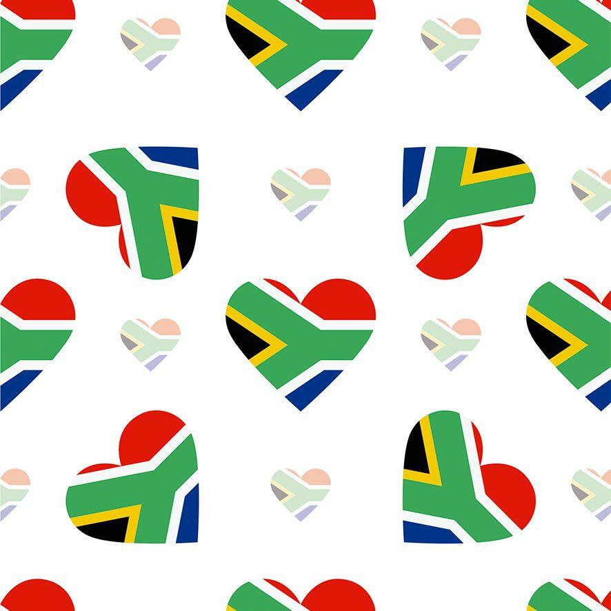 Papel de Parede Corações Love Bandeira Africa Adesivo P676