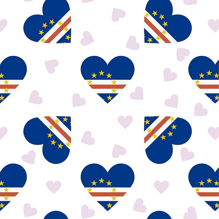 Papel de Parede Coração Bandeira Cabo Verde Adesivo P502