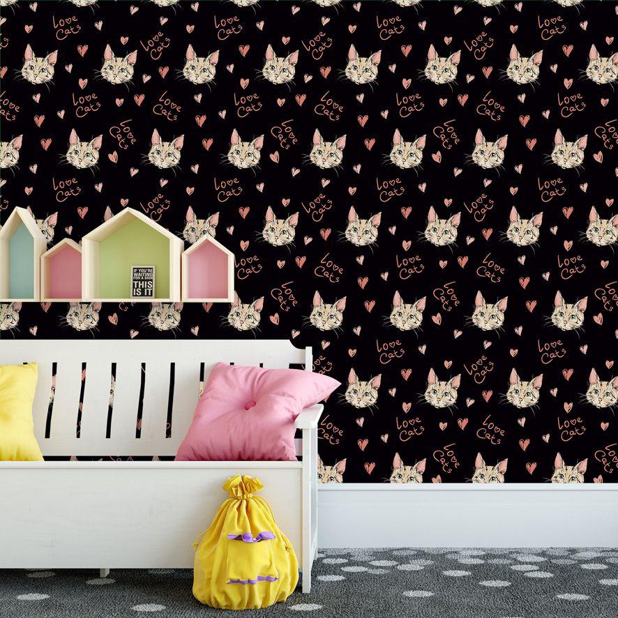 Papel de Parede Love Cats Gatos Corações Adesivo P525
