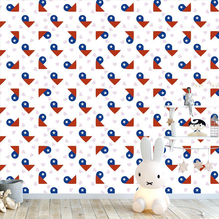 Papel de Parede Coração Bandeira Chile Adesivo P503